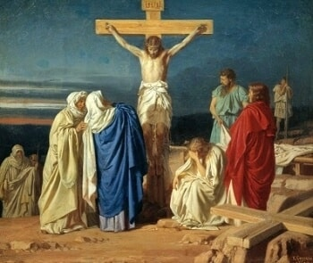 Jesus Death on the Cross with Mary at the Foot