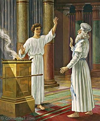 Zechariah praying in the temple